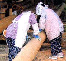 水圧による皮剥ぎ作業